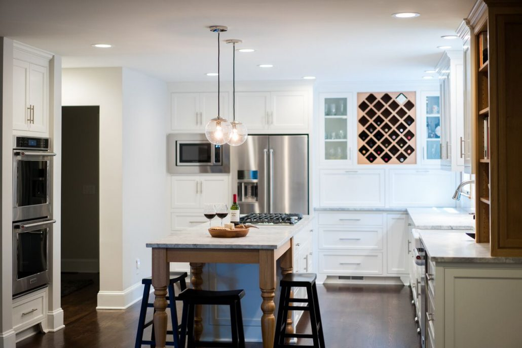 wood and white in a kitchen remodel