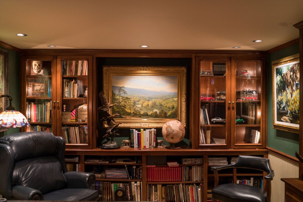 built-in bookshelves add storage to home office