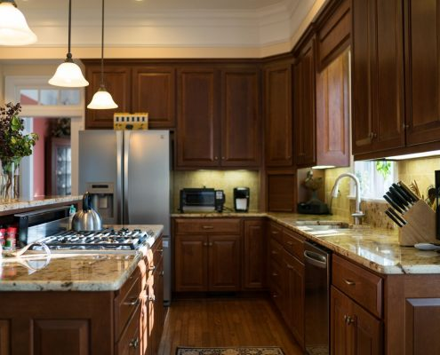custom cherry kitchen cabinetry