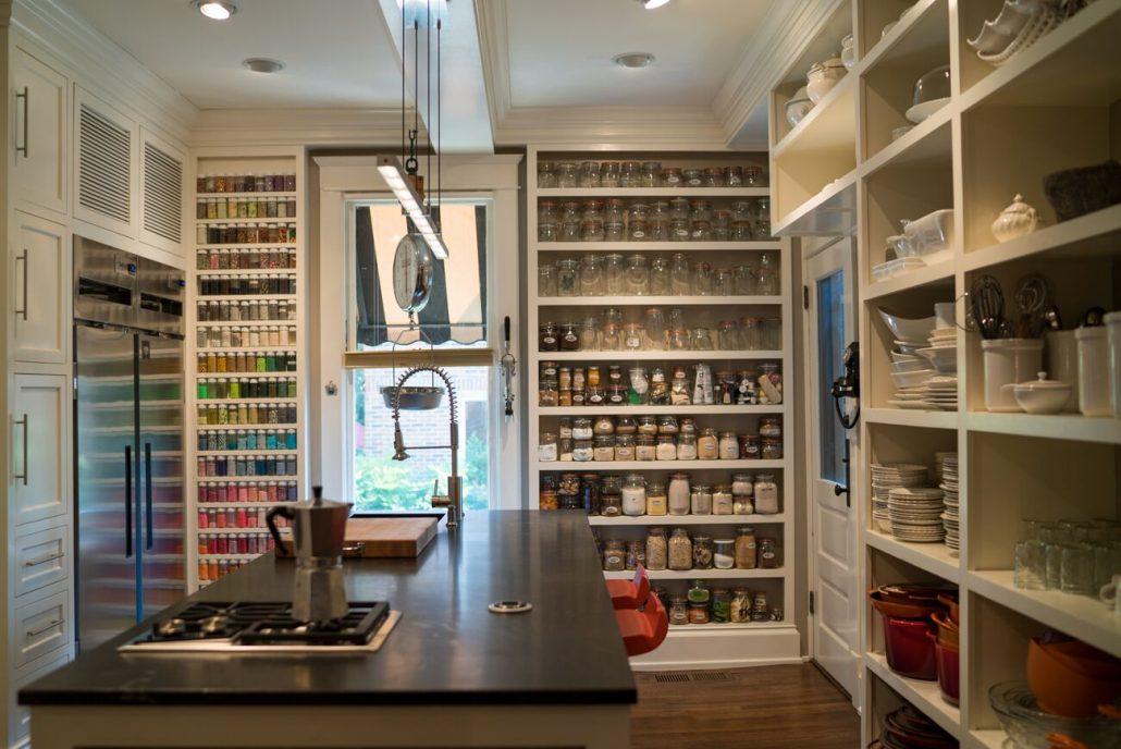 built-in shelving in custom pantry