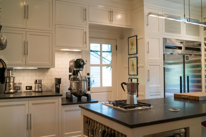 custom cabinetry makes space for mixer