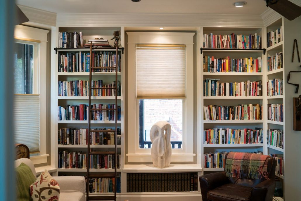built-in custom bookshelves make the space