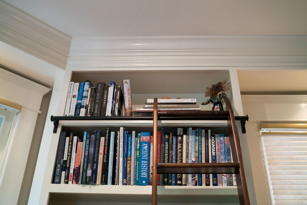 library cabinetry integrated into the home