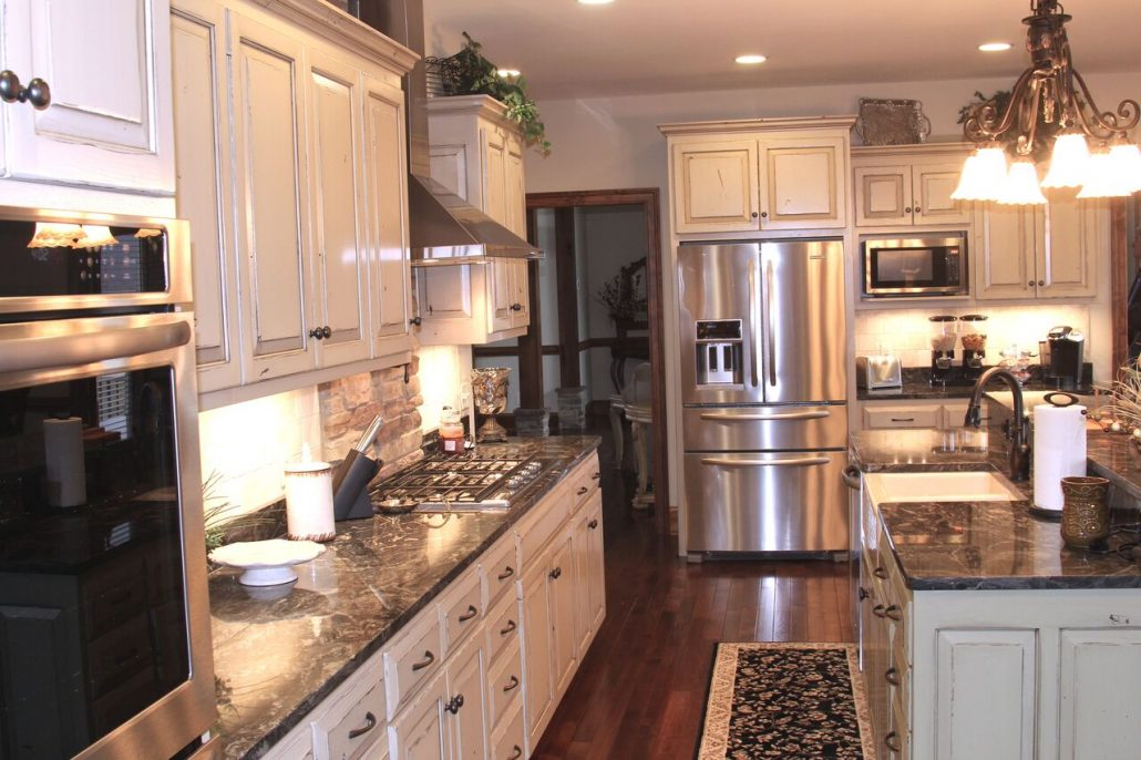 large functional white kitchen cabinetry