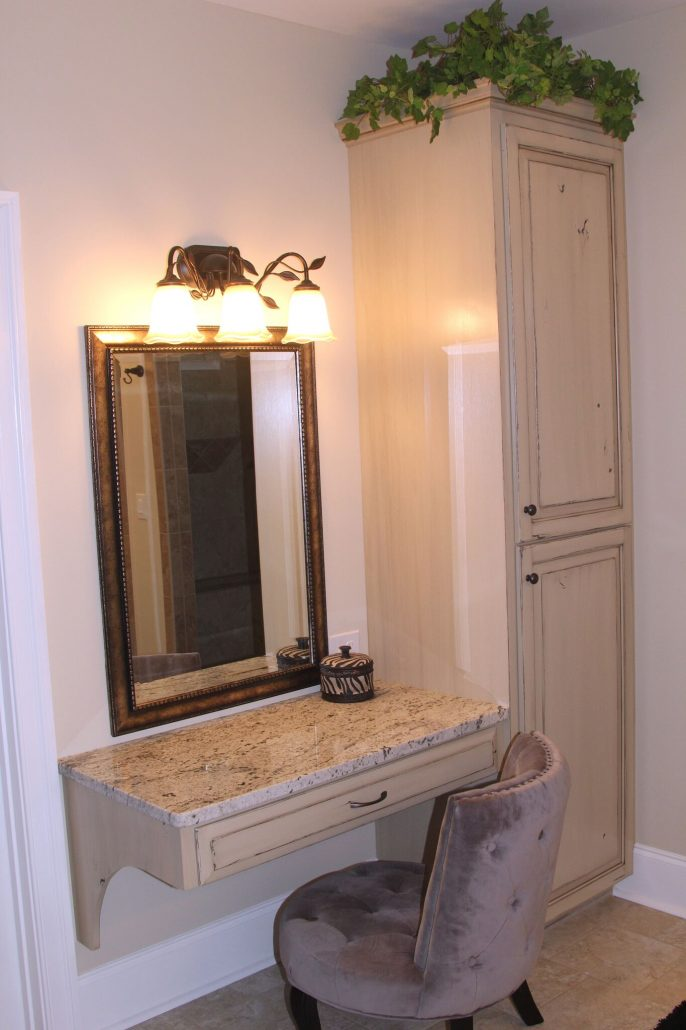 make-up counter custom cabinetry