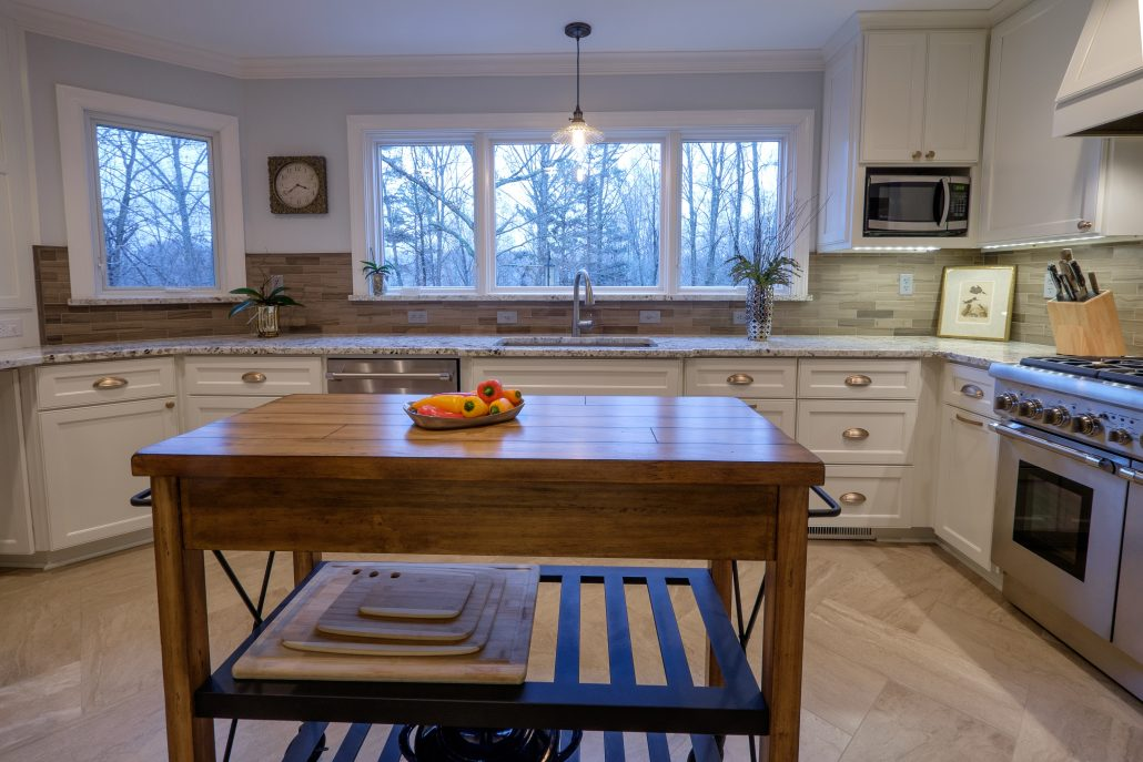 warm and open kitchen with custom cabinetry